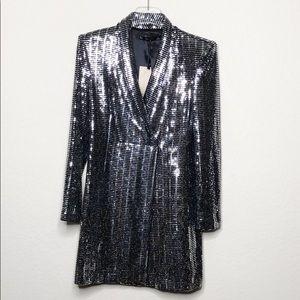 NWT Zara Metallic Sequin Blazer Dress